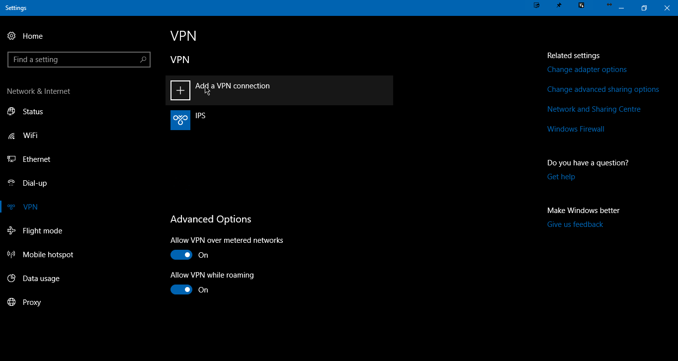 Windows 10 VPN list