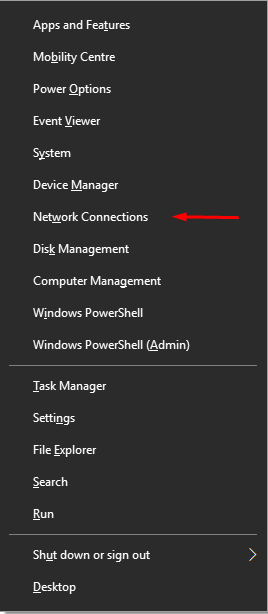 Network connections win + x