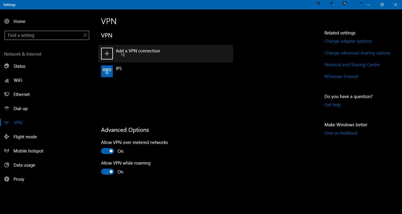 Windows 10 VPN list